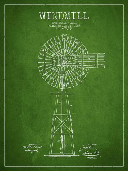 Windmill Digital Art - Windmill Patent Drawing From 1889 - Green by Aged Pixel