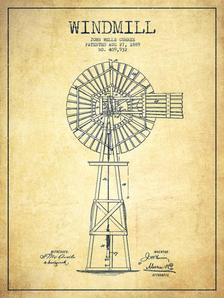 Windmill Digital Art - Windmill Patent Drawing From 1889 - Vintage by Aged Pixel