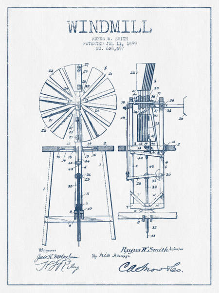 Windmill Digital Art - Windmill Patent Drawing From 1899 - Blue Ink by Aged Pixel