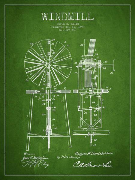 Windmill Digital Art - Windmill Patent Drawing From 1899 - Green by Aged Pixel