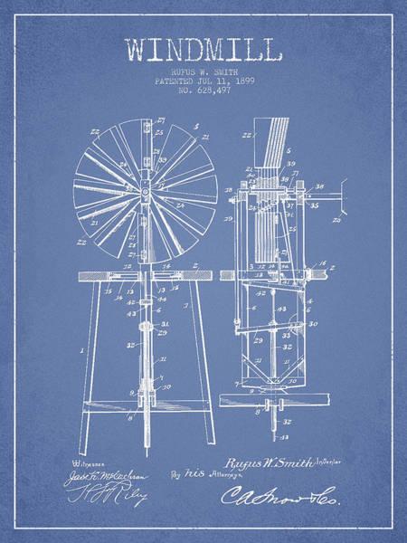 Windmill Digital Art - Windmill Patent Drawing From 1899 - Light Blue by Aged Pixel