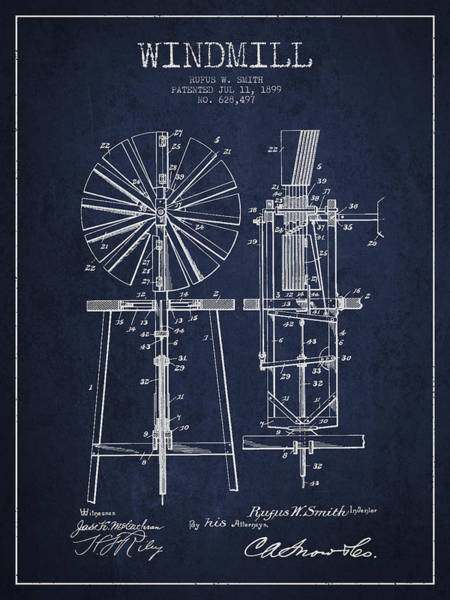 Windmill Digital Art - Windmill Patent Drawing From 1899 - Navy Blue by Aged Pixel