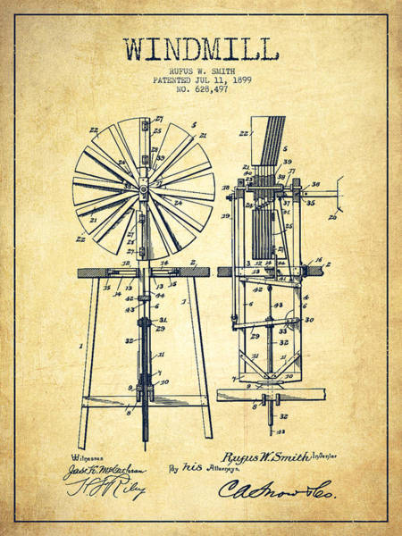 Windmill Digital Art - Windmill Patent Drawing From 1899 - Vintage by Aged Pixel