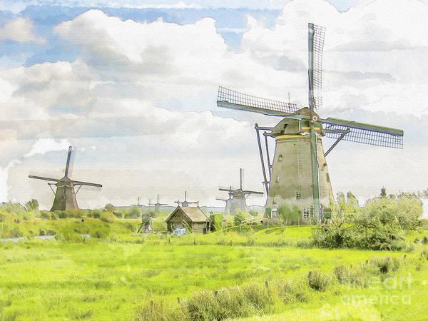 18th Century Digital Art - Windmills At Kinderdijk In  The Netherlands by Patricia Hofmeester