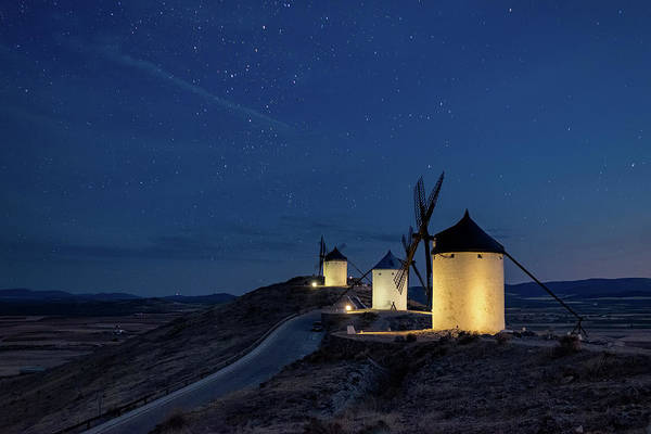 Wind Mill Photograph - Windmills At The Night In Consuegra by Elena Liseykina