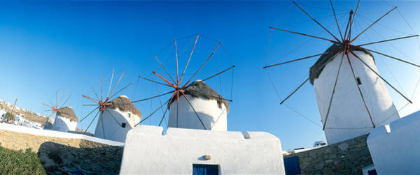 Leisurely Photograph - Windmills Santorini Island Greece by Panoramic Images