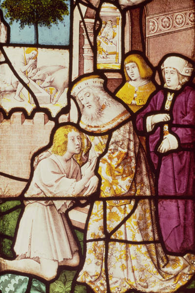 Parable Wall Art - Photograph - Window Depicting The Return Of The Prodigal Son, Cologne School Stained Glass by German School