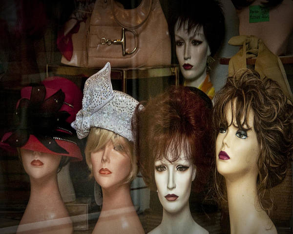 Photograph - Window Display Of Wigs And Hats by Randall Nyhof