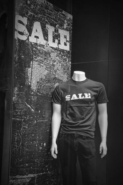 Photograph - Window Display Sale In Black And White Photograph With Mannequin No.0129 by Randall Nyhof