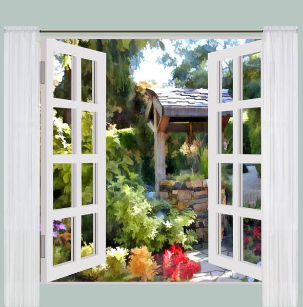 Wishing Well Painting - Window  View Of Garden Wishing Well by Elaine Plesser