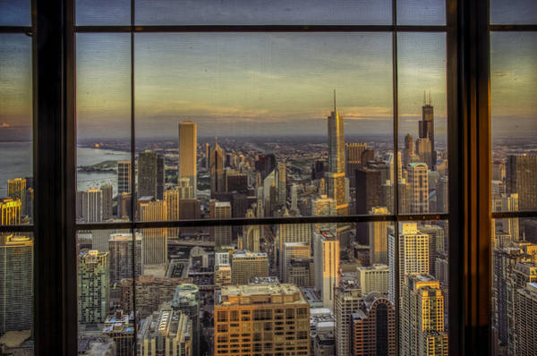 Chicago Skyline Photograph - Window View Sunset by Alexander Hill