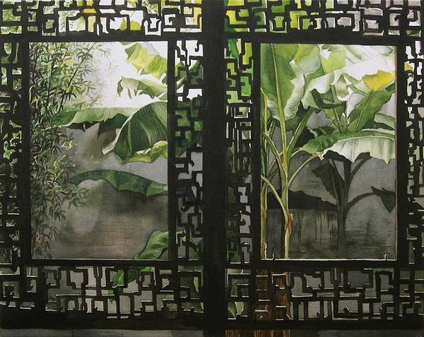 Painting - Window With Bamboo And Banana Plant by Alfred Ng