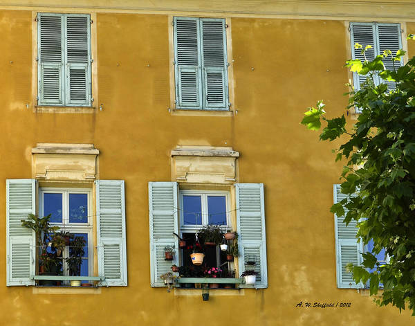 Photograph - Windowboxes In Nice France by Allen Sheffield