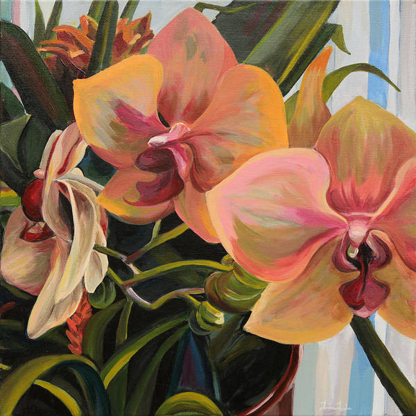 Painting - Windowsill Orchids by Trina Teele
