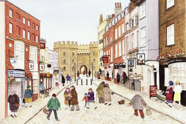 Window Shopping Photograph - Windsor Castle, 1989 Watercolour On Paper by Gillian Lawson