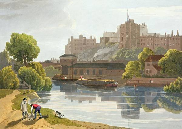 River Bank Drawing - Windsor Castle, From A Compilation by William Daniell