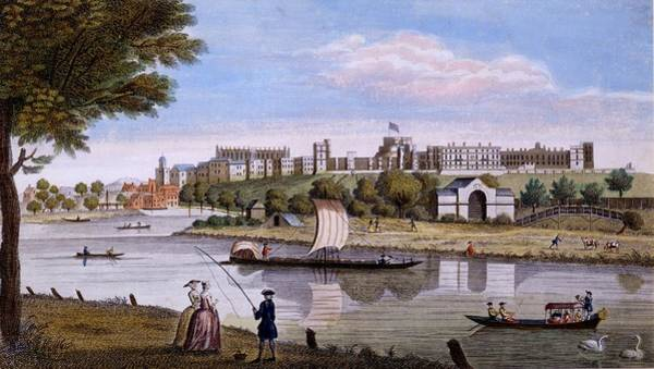 River Bank Drawing - Windsor Castle From Across The Thames by English School
