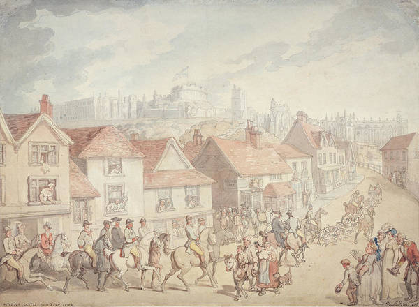 Hound Drawing - Windsor Castle From Eton Town, 1800 by Thomas Rowlandson