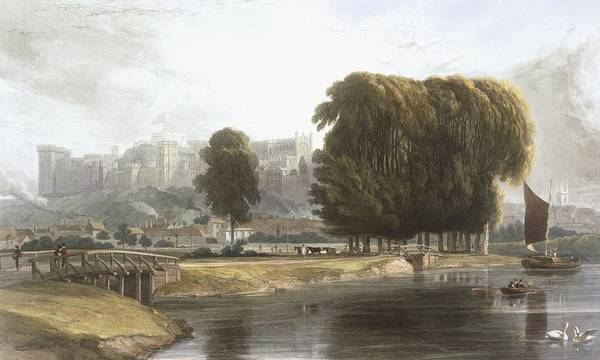 Riverbank Drawing - Windsor Castle From The Brocas Meadow by William Daniell