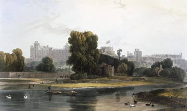 Punt Painting - Windsor Castle From The River Thames by William Daniell
