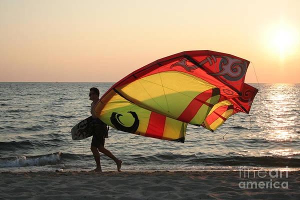 Encounter Bay Photograph - Windsurfer At Sunset by John Turek