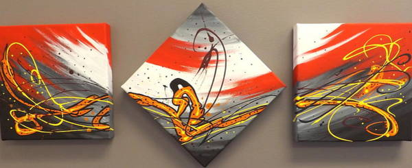Painting - Windsurfer Triptych by Darren Robinson
