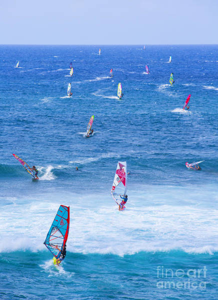 Watersports Photograph - Windsurfers On Maui by Diane Diederich
