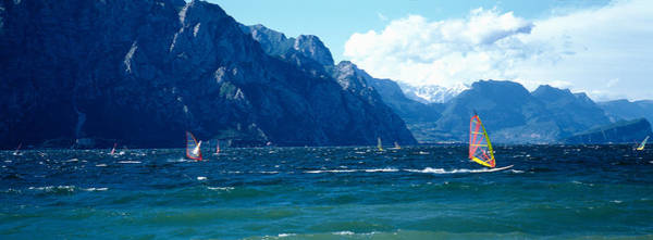 Windsurfing Photograph - Windsurfing On A Lake, Lake Garda, Italy by Panoramic Images