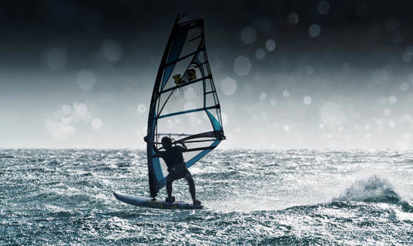 Senior Adult Photograph - Windsurfing With Water Drops On Camera by Ben Welsh / Design Pics