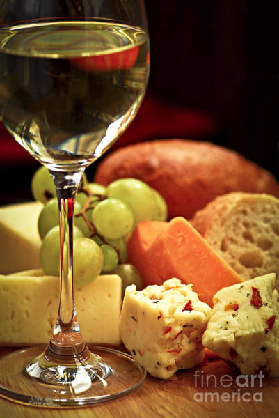 Food Wall Art - Photograph - Wine And Cheese by Elena Elisseeva