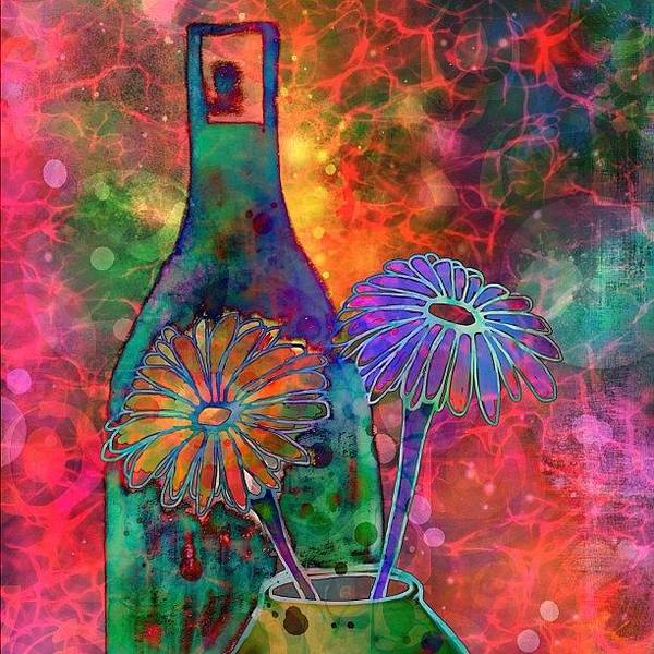 Wall Art - Photograph - Wine And Flowers #ipadart Just Playin by Robin Mead