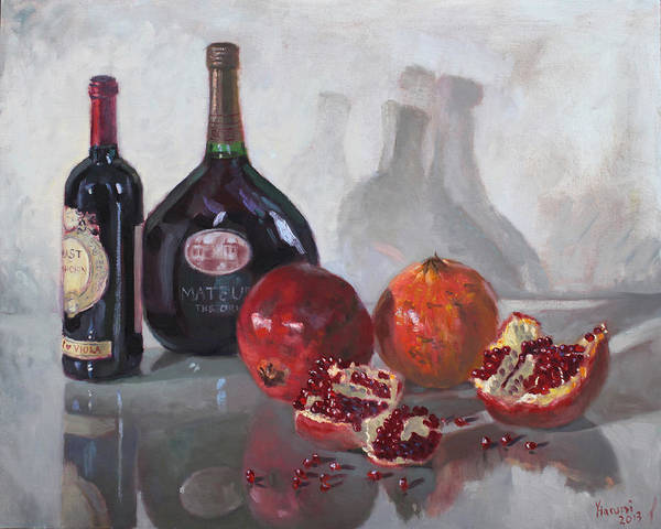 Pomegranates Painting - Wine And Pomegranates by Ylli Haruni