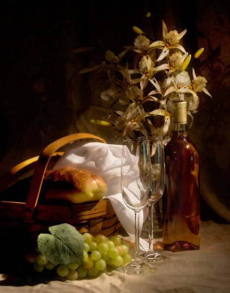 Bread Wall Art - Photograph - Wine And Romance by Tom Mc Nemar