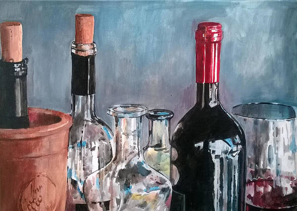 Painting - Wine Bottles Composition. by Lorand Sipos