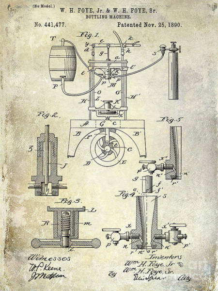 Patent Drawing Wall Art - Photograph - 1890 Wine Bottling Machine by Jon Neidert