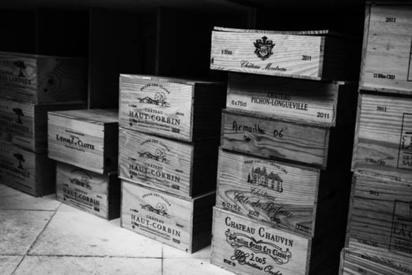 Photograph - Wine Boxes Black And White by Georgia Fowler