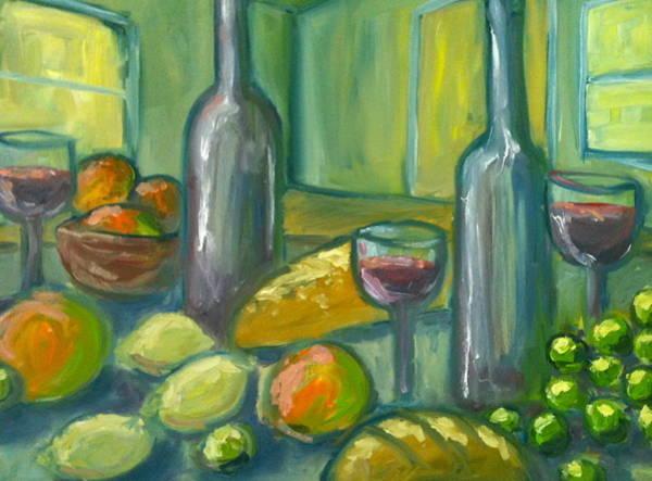 Rhea Painting - Wine Bread And Fruit by Linda Rhea