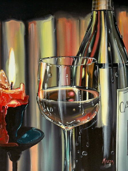 Romantic Realism Painting - Wine By Candlelight by Anthony Mezza