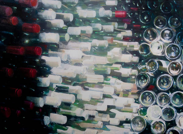 Cellar Wall Art - Photograph - Wine Cellar, 2012 Acrylic On Canvas by Lincoln Seligman