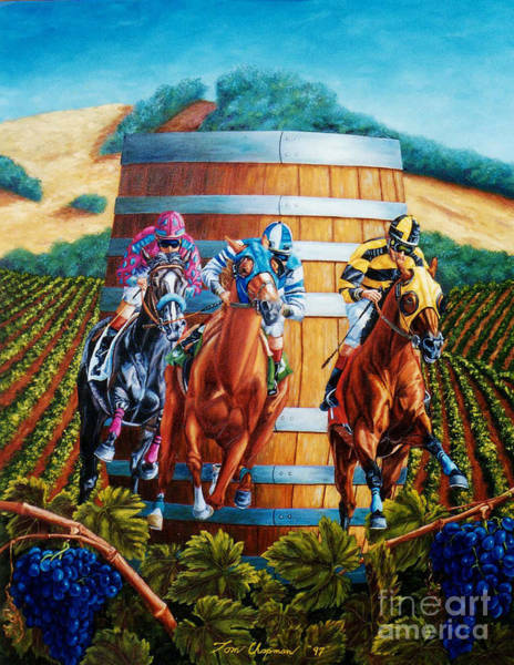 County Fair Painting - Wine Country Barrel Racing by Tom Chapman