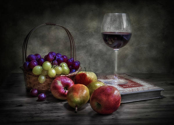 Pears Wall Art - Photograph - Wine, Fruit And Reading. by Fran Osuna