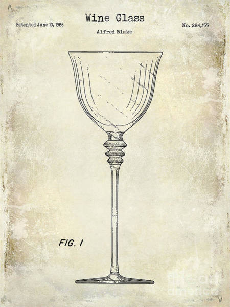Patent Drawing Wall Art - Photograph - Wine Glass Patent Drawing by Jon Neidert