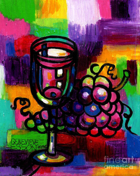 Fauve Painting - Wine Glass With Grapes Abstract by Genevieve Esson