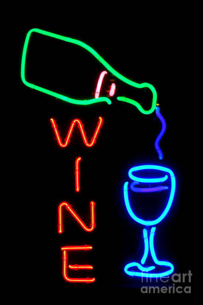Neon Signage Photograph - Wine by Olivier Le Queinec