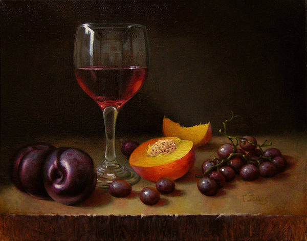 Wall Art - Painting - Wine Peach And Plums by Timothy Jones