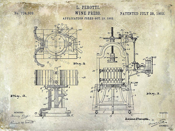 Cigar Photograph - Wine Press Patent 1903 by Jon Neidert