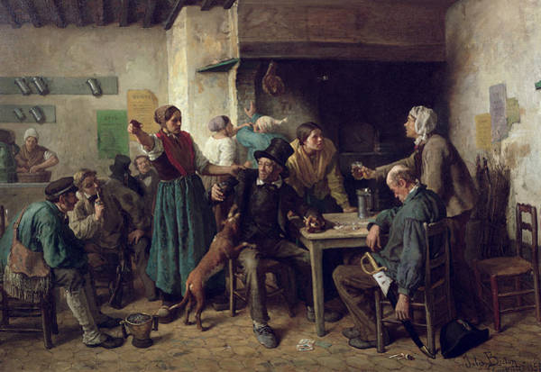 Tavern Painting - Wine Shop Monday, 1858 by Jules Breton