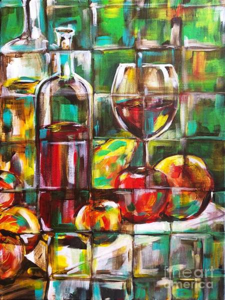 Painting - Wine Still Life Geometric by Lisa Owen-Lynch