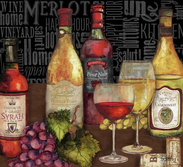 Wall Art - Painting - Wine Still Life On Black by Mary Beth Baker