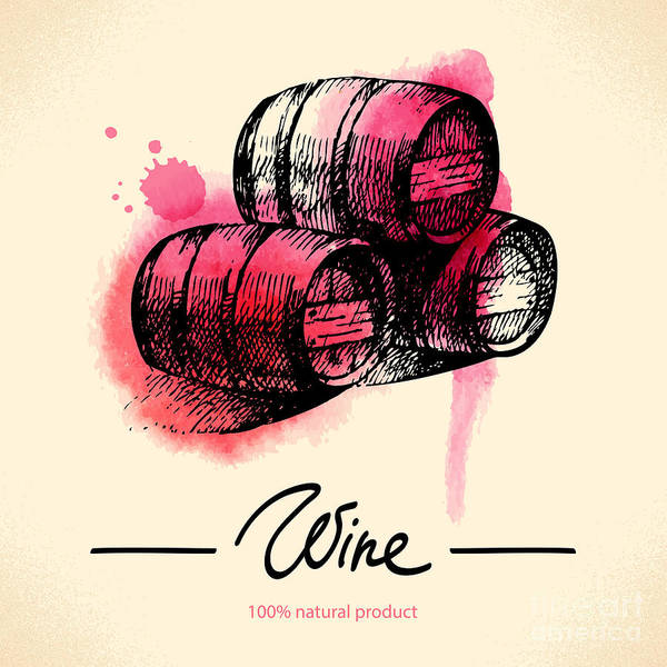 Wall Art - Digital Art - Wine Vintage Background. Watercolor by Pimlena